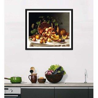 Tallenge Art For Kitchen - Basket Of Fruit - Ready To Hang Framed Art Print