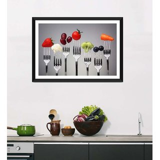 Tallenge Art For Kitchen - Bite Of Healthy Food For A Healthy Life - Ready To Hang Framed Art Print