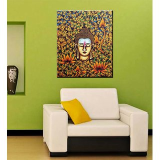 Tallenge - Buddha With Flowers And Leaves - Ready To Hang Gallery Wrap Canvas Art Print