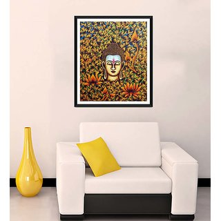 Tallenge - Buddha With Flowers And Leaves - Ready To Hang Framed Art Print