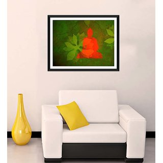 Tallenge - Buddha With Green Leaves Background - Ready To Hang Framed Art Print
