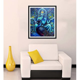 Tallenge - Buddha With Peacock - Ready To Hang Framed Art Print
