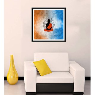 Tallenge - Silhouette Buddha with Lotua Flower Background - Ready To Hang Framed Art Print