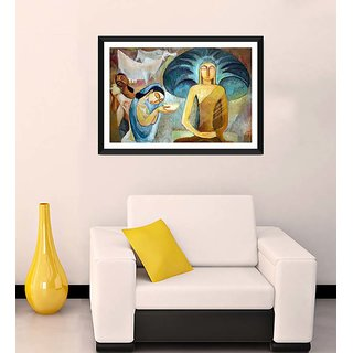 Tallenge - Sujatha Offering Buddha His First Meal - Ready To Hang Framed Art Print