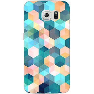EYP Blue Hexagon Pattern Back Cover Case For Samsung S6