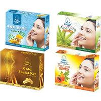 PAVO Aloe Vera  Papaya  Anti Acne  Gold Facial Kit (pack of 4)