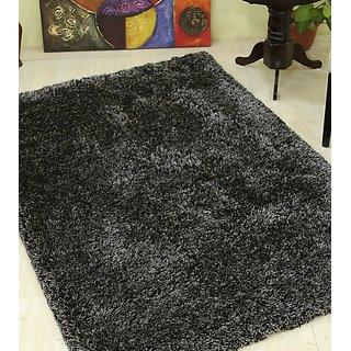 Buy Galicha Black Silver Shaggy Rugs 60 Cm X 120 Cm Online Get