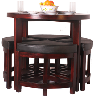 Wooden Brown Modern Bar Table Set with Nesting Stools