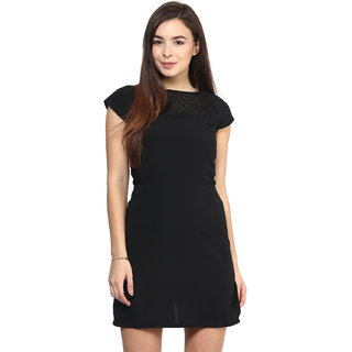 RARE Black Cap Sleeves Polyester dress for women