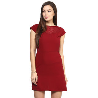 RARE Red Cap Sleeves Polyester dress for women