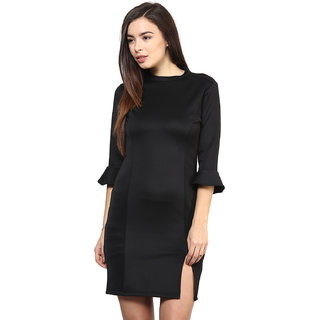 RARE Black 3/4th Sleeves Scuba dress for women