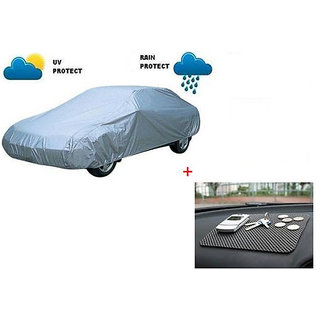 Autostark Combo Of Hyundai Eon Car Body Cover With Non Slip dashboard Mat Multicolor