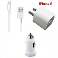 3 In 1 One Charger For Iphone 5 USB Data Cable + CAR Travel