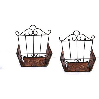 Onlineshoppee Wooden Iron Magazine Holder/Rack With Handcarving Work Set OF 2