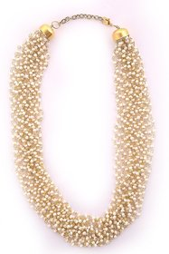 Zephyrr Fashion Necklace Hand Made Pearl Multi Strand Necklace for Women