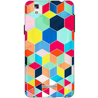 EYP Multicolour Hexagon Pattern Back Cover Case For Micromax Yu Yureka