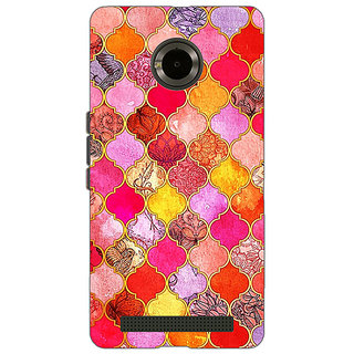 EYP Red Moroccan Tiles Pattern Back Cover Case For Micromax Yu Yuphoria