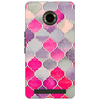 EYP Pink Grey Moroccan Tiles Pattern Back Cover Case For Micromax Yu Yuphoria