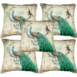 Set Of Five Peacock Cushion Cover Throw Pillow Design 3