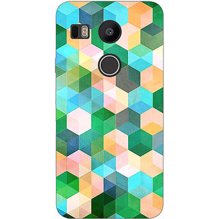 EYP Green Hexagons Pattern Back Cover Case For LG Google Nexus 5X