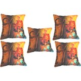 Set Of Five Saint With Flowers Cushion Cover Throw Pillow Design 1