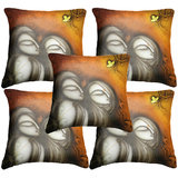 Set Of Five Faces Cushion Cover Throw Pillow Design 1