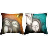 Combo Of Faces Cushion Cover Throw Pillow Design 1