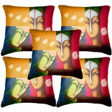 Set Of Five Faces Cushion Cover Throw Pillow Design 3