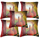 Set Of Five Sunset Painting Cushion Cover Throw Pillow