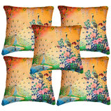 Set Of Five Peacock 2  Cushion Cover Throw Pillow