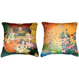 Combo Of Peacock & Indian Princesses Cushion Cover Throw Pillow