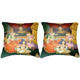 Pair Of Indian Princesses Painting Cushion Cover Throw Pillow