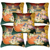 Set Of Five Indian Princesses Painting Cushion Cover Throw Pillow