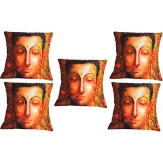 Set Of Five Meditating Saint Cushion Cover Throw Pillow Design 1