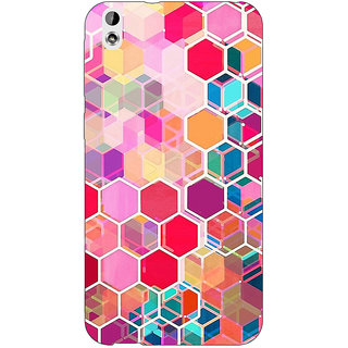 EYP Red Blue Hexagons Pattern Back Cover Case For HTC Desire 816 Dual Sim