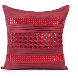 PLEATS - Cherry Red Polysilk Stone Work Cushion Cover - Set Of 2
