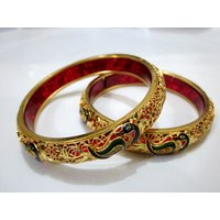 Beautiful Antique Designer Peacock One Gram Gold Plated Bangles