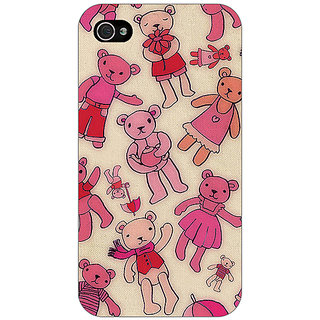 Enhance Your Phone Teddy Pattern Back Cover Case For Apple iPhone 4 E10263