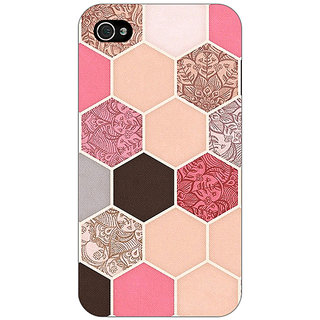 Enhance Your Phone Pink Hexagons Pattern Back Cover Case For Apple iPhone 4 E10271