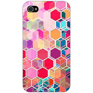 Enhance Your Phone Red Blue Hexagons Pattern Back Cover Case For Apple iPhone 4 E10274