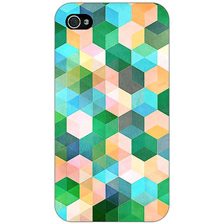 Enhance Your Phone Green Hexagons Pattern Back Cover Case For Apple iPhone 4 E10276
