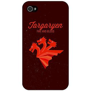 Enhance Your Phone Game Of Thrones GOT House Targaryen  Back Cover Case For Apple iPhone 4 E10137