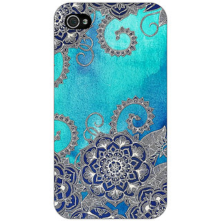 Enhance Your Phone Blue Doodle Pattern Back Cover Case For Apple iPhone 4 E10209