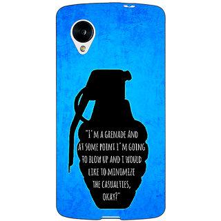Enhance Your Phone TFIOS Grenade  Back Cover Case For Google Nexus 5 E40106