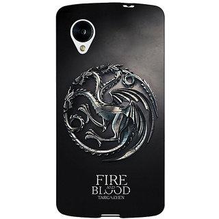 Enhance Your Phone Game Of Thrones GOT House Targaryen  Back Cover Case For Google Nexus 5 E40145