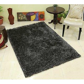 Buy Galicha Black Silver Shaggy Rugs 90 Cm X 150 Cm Online Get