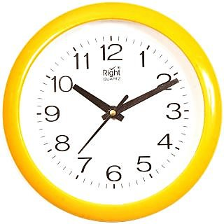 Right Analog Wall Clock(Yellow  With Glass)211Y