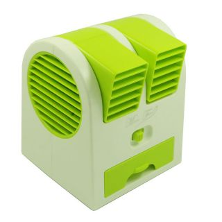 USB / 3 x AA Powered Air Conditioning Scent Mini Fan - Green + White