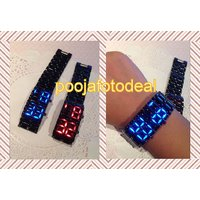 Black Samurai Steel Blue LED Digital Watch Cum Bracelet For Mens  Womens