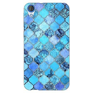Enhance Your Phone Blue Moroccan Tiles Pattern Back Cover Case For HTC Desire 820Q E290287